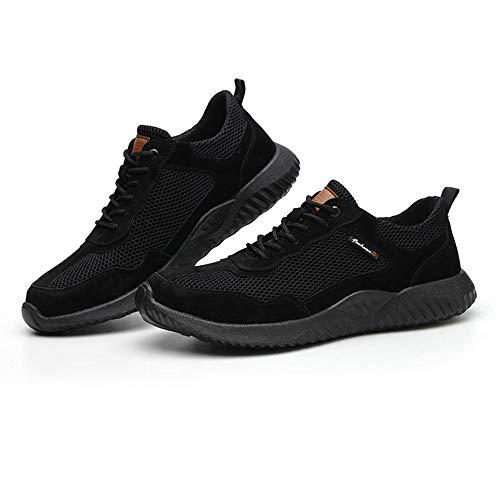 Meng Chaussure De Sécurité Homme Femme S3 Légère Embout Acier Protection Chaussures De Travail Basket De Securite Antidérapante Anti-Perforation Chaussures De Protection (Color : Black, Size : 42)