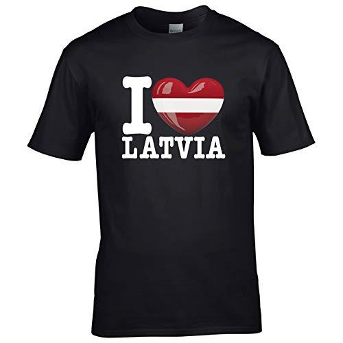 FanShirts4u Kinder T-Shirt - I Love LETTLAND/LATIVA - EM WM Trikot Liebe Herz Heart (7/8 Jahre 122-128 cm, I Love LATIVA - Schwarz)