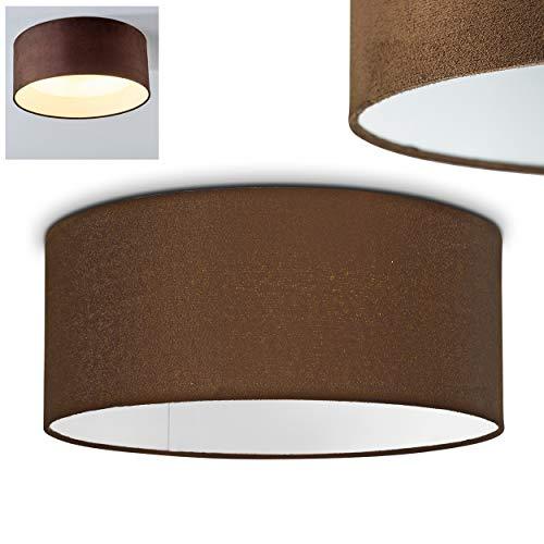 LED Deckenleuchte Niagara, runde Deckenlampe mit Lampenschirm aus Stoff in Braun/Weiß, Ø 31 cm, 14 Watt, 1200 Lumen (insgesamt), 3000 Kelvin (warmweiß), Retro/Vintage-Design