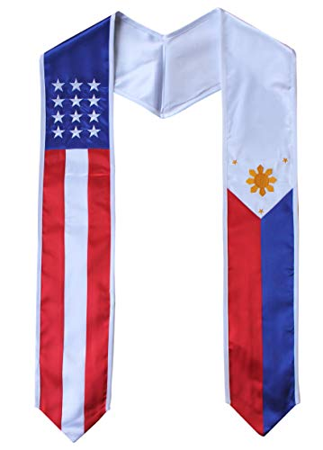 Country and USA Flag Graduation Stole Sash International Graduate (Philippines/USA)