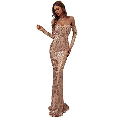 Miss ord Sexy Long Sleeve Retro Party Dress Sequin Formal Maxi Dress, Elegant Mermaid Evening Prom Gown Gold