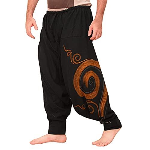 THNF Pantalones harén para hombre, verano, talla grande, cintura alta, sueltos, elásticos, elegantes, vintage, nacionalidad del Estado, estampado de flores, Color: negro., XL