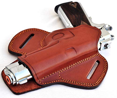 Ottoza Handmade Leather Gun Holster 1911 Holster Right Hand - OWB Holster for 1911 Gun Holster fits Most Models 1911 COLT- Kimber - Ruger and More Without Rail - Brown Full Grain Leather No:242