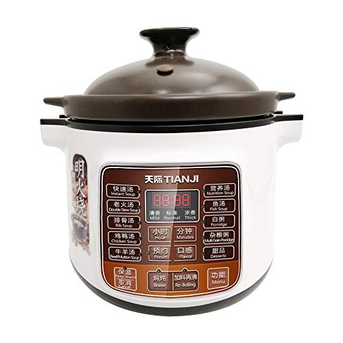 Tianji DGD40-40LD Electric Stew Pot, 4L Full-automatic Slow Cooker, Black Pottery Inner Pot, 120V, 600W