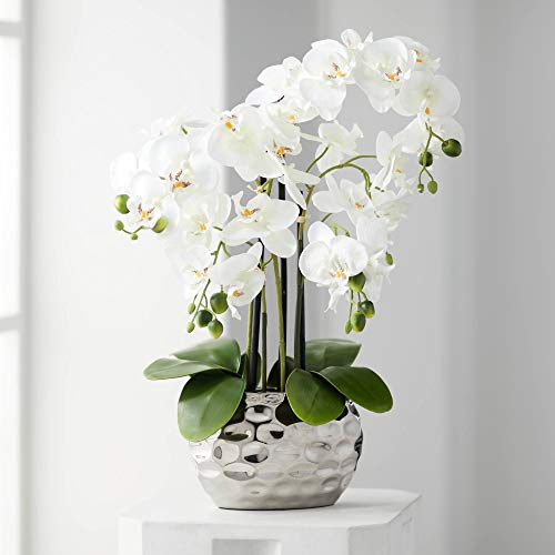 Dahlia Studios White Phalaenopsis 23' H Faux Orchid in Silver Resin Pot