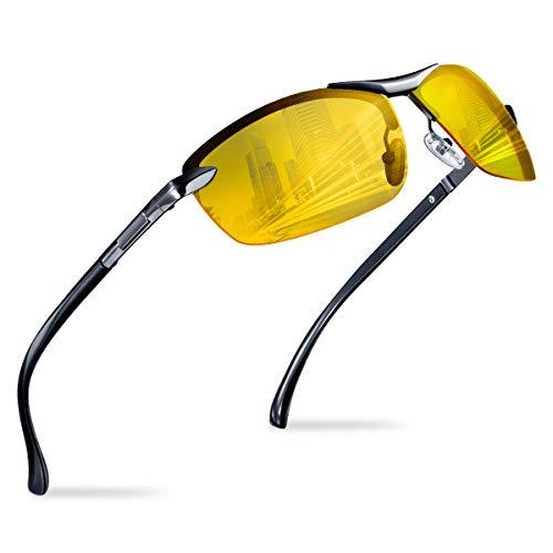 Nachtfahrbrille zum Autofahren Herren Damen- Polarisierte Nachtsichtbrille filtert Licht von Scheinwerfern, Nachtbrille mit UV-Schutz Blendschutz für Fahren Radfahren Angeln, Leichter Metallrahme