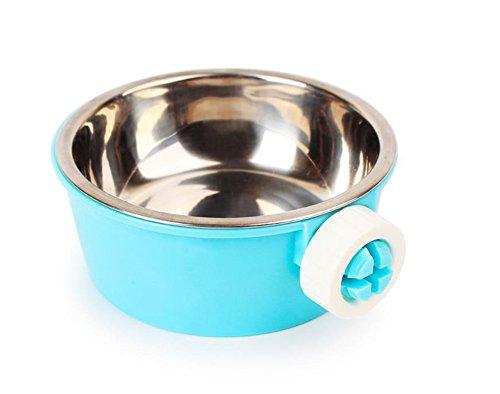iTemer cuencos de plástico de acero inoxidable para colgar jaulas, 2 en 1, cuenco para comedero de mascotas, alimentos para animales pequeños, suministros de alimentación de agua