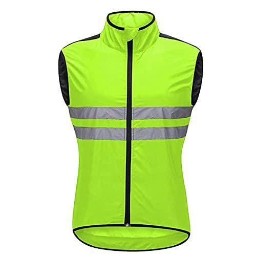 YLJXXY Hombres Ropa Ciclismo Sin Mangas, Transpirable Chaqueta de Ciclismo Cortavientos Alta Visivilidad Chaleco Reflectante de MTB para Correr, Ciclismo o Deporte
