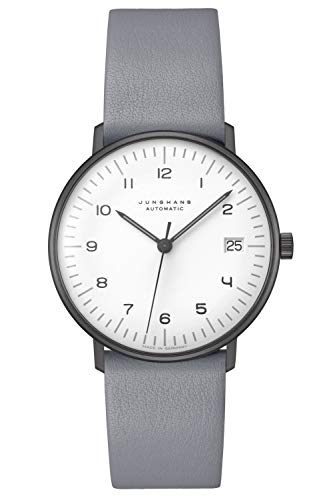 Junghans max Bill Armbanduhr Kleine Automatik Lederband grau 027/4006.04