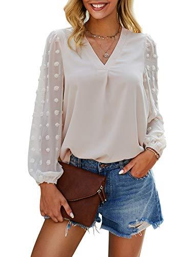 Bequemer Laden Tunika Damen Langarm Elegant Oberteile Longshirt Polka Dots V-Ausschnitt Chiffon Casual Locker Bluse Tops
