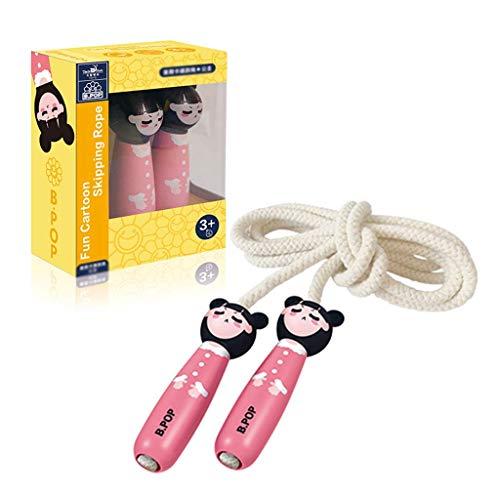 Cuerda de salto antideslizante para niños, cuerda de salto ajustable con mango de madera, cuerda de salto trenzado de algodón para niños y niñas Ejercicio al aire libre regalos de entrenamiento LOLDF1