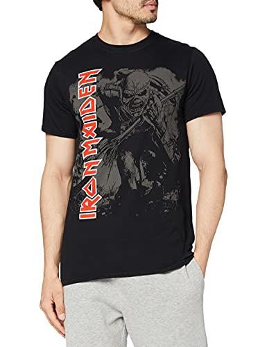 Iron Maiden Hi Contrast Trooper Camiseta Manga Corta, Negro, Large para Hombre