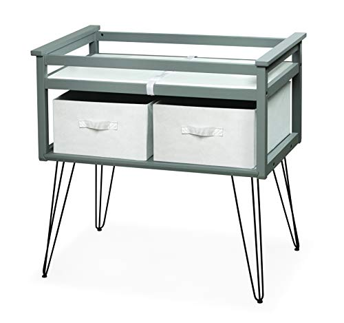 Badger Basket Contempo Convertible Changing Table for Infants and Babies - Includes Two Baskets, Gray/White