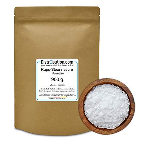 Stearinsäure - Stearin aus 100% Raps Öl - Rein pflanzliches Wachs zum herstellen von Kerzen - Seifen - Kosmetik - Schmiermitteln - 900 g