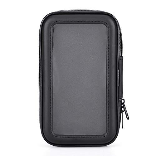 Akozon Soporte para montaje en teléfono Bolso impermeable de la caja del teléfono del soporte del soporte de la motocicleta de la motocicleta Negro(M)