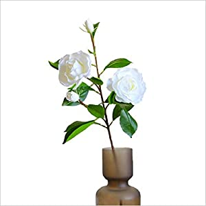 Artificial Cape Jasmine Flower Gardenia Single-vessle Table Living Room Bedroom Home Decoration Bouquet Photography Props (White)