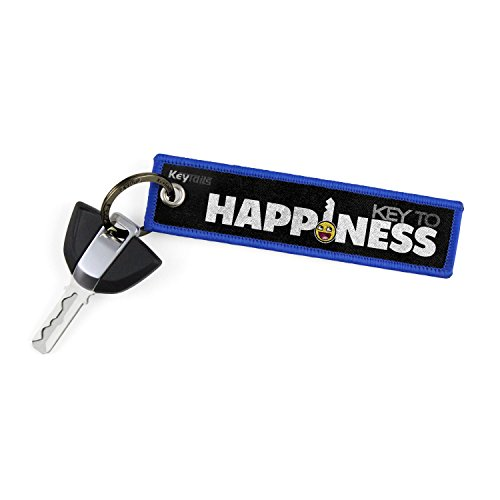 Llaveros de KEYTAILS, etiqueta clave de calidad premium para motocicleta, coche, scooter, ATV, UTV [clave de la felicidad]