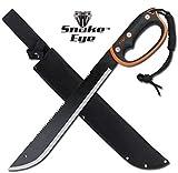Snake Eye Tactical Full Tang Two Tone Handle Fixed Blade Machete w/Sheath Outdoors Hunting Camping Fishing (Orange)
