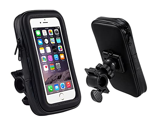 HongTeng-Bolsa de Bicicleta La Bolsa de Soporte de teléfono móvil de Bicicleta se Puede Girar 360 Grados, Adecuado para Todo Tipo de Bicicletas, 6.3/5.5 Pulgadas Negra