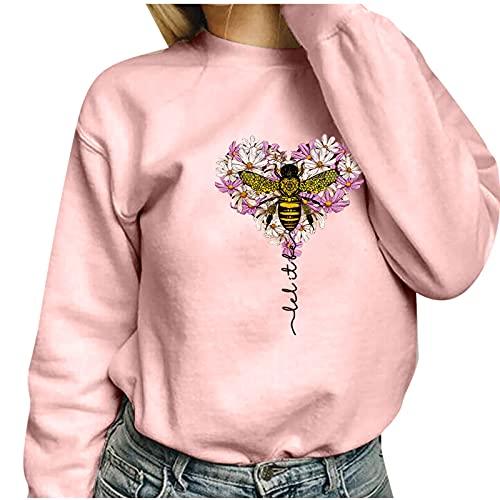 Langarm-Sweatshirt mit Aufdruck Love Fashion Damen Pullover Casual mit rundem Ausschnitt und lockerem Langarm-Sweatshirt für den Außenbereich hält warm, Rosa4, X-Large