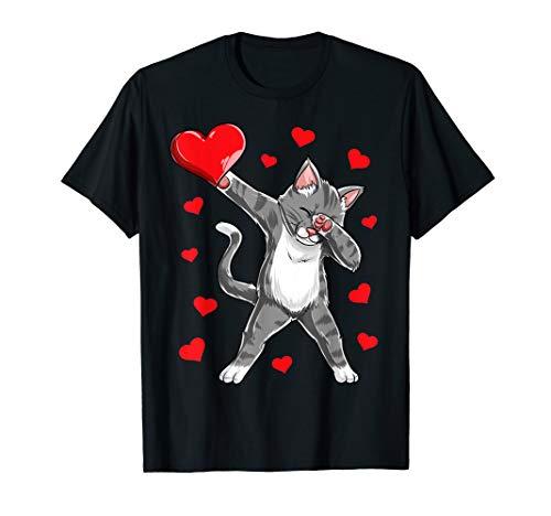 Dabbing Cat Heart Valentines Day Girls Kitty Kitten Lover T-Shirt