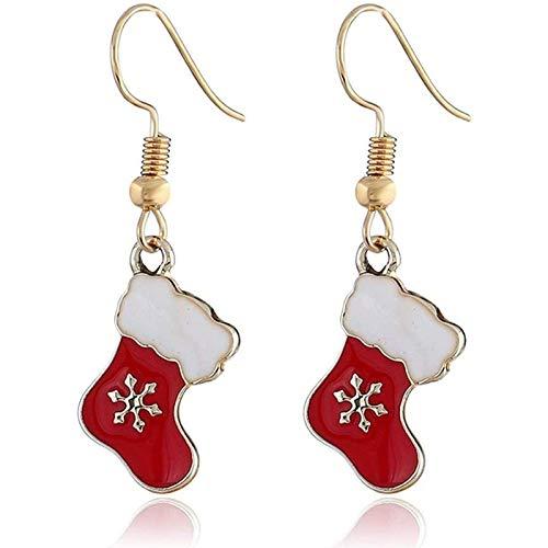 Ozsjrq Christmas Stocking Mistletoe Earrings Pendant New Year Decoration Jewelry Women Teen Girls Gift Charm, Red