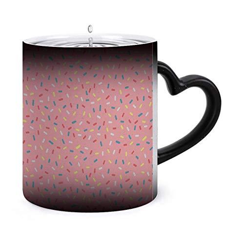 Glaseado colorido de rosquilla con asperja Tazas morphing de 11 oz Taza sensible al calor Taza de té de café que cambia de color de cerámica ndash Modelo28864