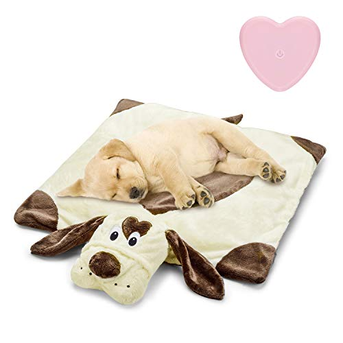 Moropaky Puppy Heartbeat Toy Puppy Bed Mat for Anxiety Relief, Behavioral Training Aid Toy for Dog Calming Sleeping Soother Cuddle