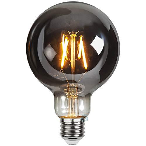 Flairlux LED Plain Smoke Filament Lampe mit stylischem soft Glow, perfekt zur dekorativen Beleuchtung (Globo G95 E27, Warmweiß, 2100 K, 1.8W)