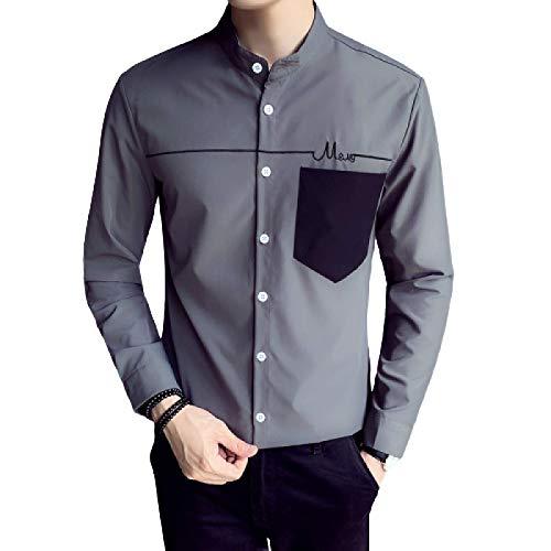 Camisa de Manga Larga de otoño Camisa Informal de Estilo Casual con Botones de una Sola Fila para Hombre L