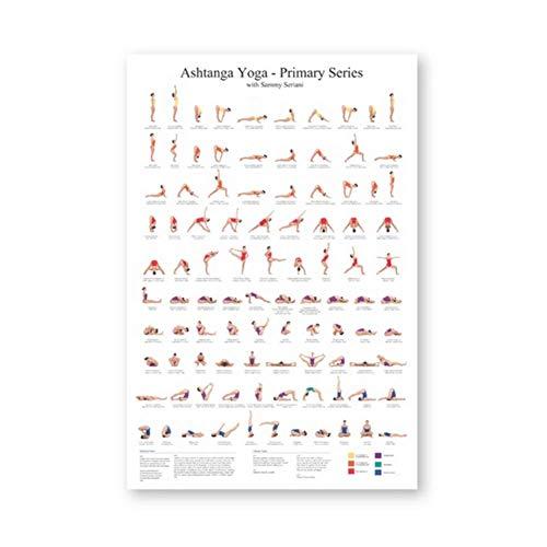 wzgsffs Ashtanga Primary Series Yoga Poster Canvas Art Prints Yoga Room Wall Art Decor Girls Fitness Gifts Gym Art Painting Decoration -60x80cm Sin Marco