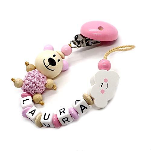 Schnullerkette mit Namen für Junge & Mädchen | VIELE INDIVIDUELLE MODELLE | Personalisierte Nuckelkette mit Wunschnamen (Bär, Rosa, Natur, Wolke)
