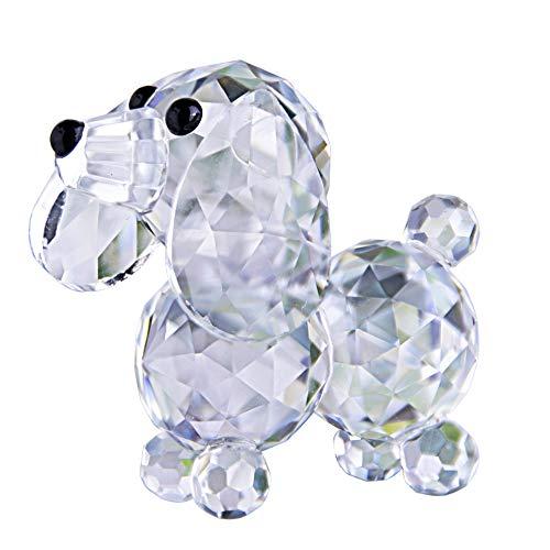 H&D - Statuina a forma di cane in cristallo, 20 mm (colore bianco)