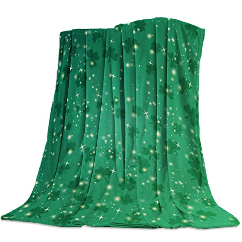 Irish St. Patrick's Day Throw Blankets Bling and Lucky Shamrocks Leaves Fuzzy Soft Bed Cover Bedspread Microfiber Luxury Blanket for Travel Stadium Camping Couch Sofa Chair 50x60inch