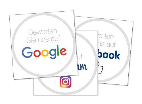 Social Media Sticker Set – Bewerten Sie uns auf Google Stickers, Facebook Stickers und Instagram Stickers