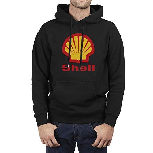 Mens Casual Hoodies Cute Shell-Gasoline-Gas-Station-Logo- Print Sweaters Pocket Crew Vintage Sweatshirt