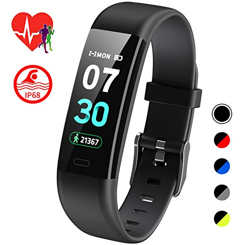 Mgaolo Fitness Tracker HR,Activity Tracker IP68 Waterproof Smart Watch Fit Wristband with Heart Rate Blood Pressure Sleep Monitor Pedometer Calorie Step Counter for Bit Fitbit Android and IPhone Black