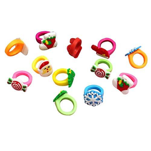 Toyvian 30 Stücke Weihnachten Kinder Ringe Fingerring Silikon Ring Set Xmas Party Geschenke für Mädchen Schmuck (Gelegentliche Stile)