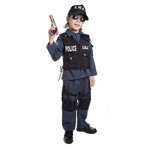 Dress up America–S.W.A.T. Policía Disfraz para Niños De Carnaval Halloween Talla: Medium (8–10años)–M,, Up327Md