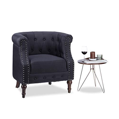 Relaxdays Retro Sessel, Chesterfield-Design, Stoffbezug, Nietenbesatz, gesteppt, Sitzpolster, HBT: 76x71x67cm, schwarz, Standard