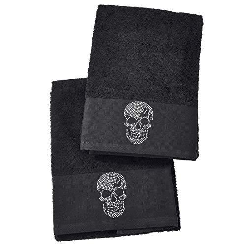 DONE Gästehandtuch Doppelpack Black-Line Stone - 5 Motive mit Strass-Steinen in schwarz oder Silber - Exklusives Frottee Set 100% Baumwolle, Farbe:Black 4203, Größe:Skull_B05