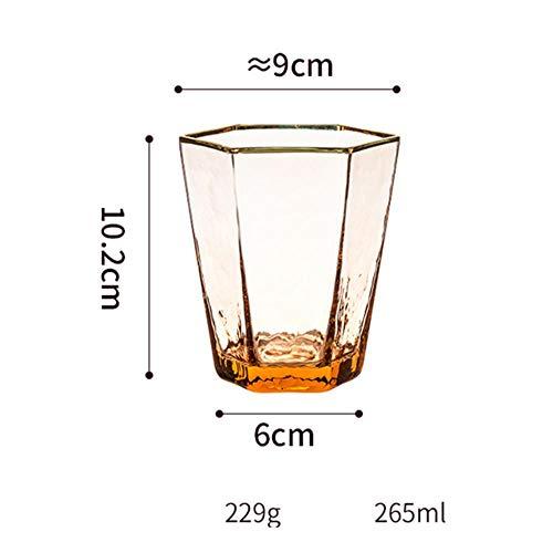 Tgbyhnujm zeshoekige hamerstrip wijnglas met gouden rand kristalglas champagnebeker huishouden whiskyglas waterbeker