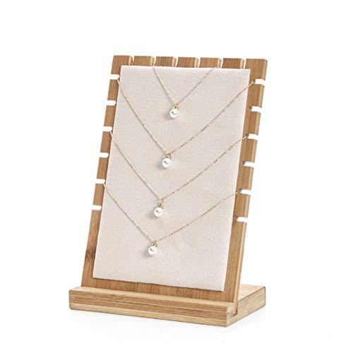 Joyero con tapa de vidrio Collar de tablón de bambú Collar de exhibición del soporte del collar del soporte de la pantalla, soporte de la pantalla del collar del tablón de madera, el soporte del almac
