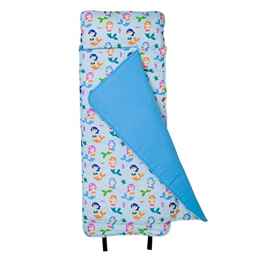 Wildkin Original Nap Mat with Pillow for Toddler Boys and Girls, Ideal for Daycare and Preschool, Measures 50 x 1.5 x 20 Inches, Mom's Choice Award Winner, BPA-Free, Olive Kids (Mermaids)