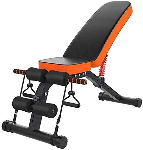 mjj Banco de abdominales para el hogar, con pesas y barra para la espalda, para el vientre, multipeso, ajustable en 8 posiciones, color naranja