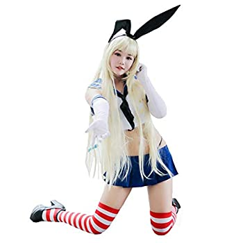 COSPROFE Womens Shimakaze Cosplay Sailor Suit Schoolgirl Uniform Costumes Full Outfit  Asian S