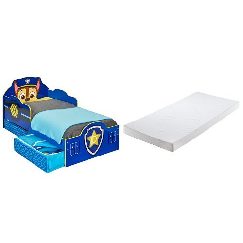 Paw Patrol Chase Toddler Bed with Underbed Storage and Silentnight Cot Mattress