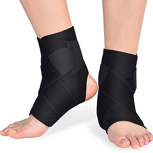 Doact Fußbandage Sprunggelenkbandage Fußgelenkstütze Knöchelschutz mit PE Board Stärke stabilisieren und Haken und Schlaufe Fußgelenkbandage für Männer und Frauen Knöchelverstauchung Arthritis (2pcs)