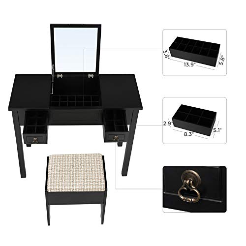 VASAGLE Vanity Set with Flip Top Mirror Makeup Dressing Table Writing Desk with 2 Drawers Cushioned Stool 3 Removable Organizers Easy Assembly, Black URDT01B