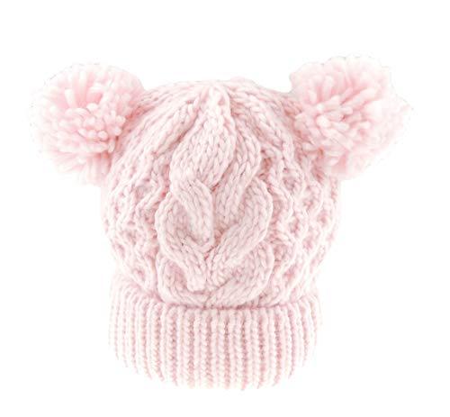 Zachte Baby Meisjes Jongens Warm Winter Knit Beanie Dubbele Pom Pom Mini Diamant Gebreide Effen Hoed 0-3 Months roze